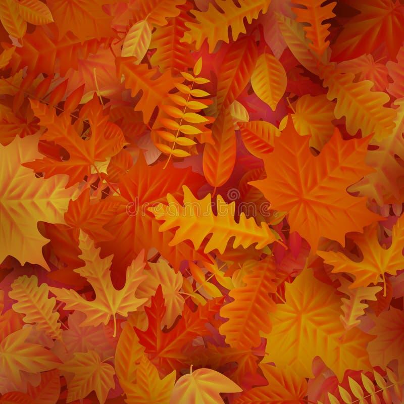 Autumn Leaves Background rojo y anaranjado EPS 10 stock de ilustración