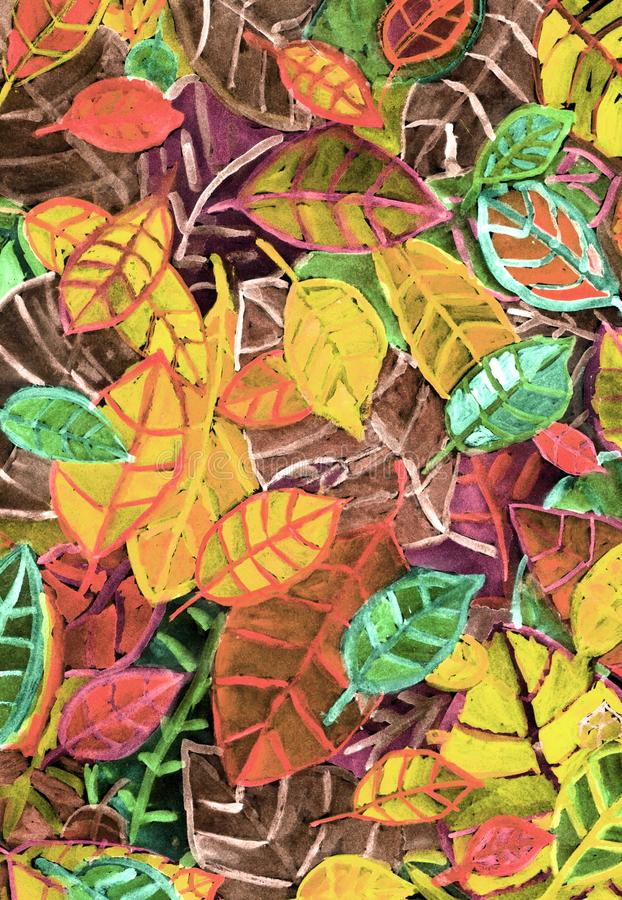 Autumn leaves background royalty free illustration