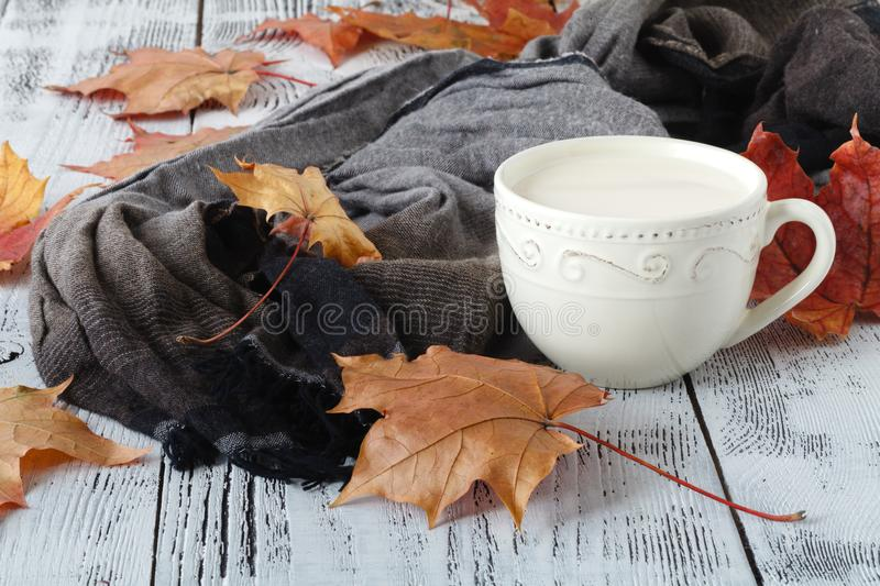 Autumn leaves and black coffee composition. coffee cup at weathered rustic wood background. Fall hot drinks concept royalty free stock image
