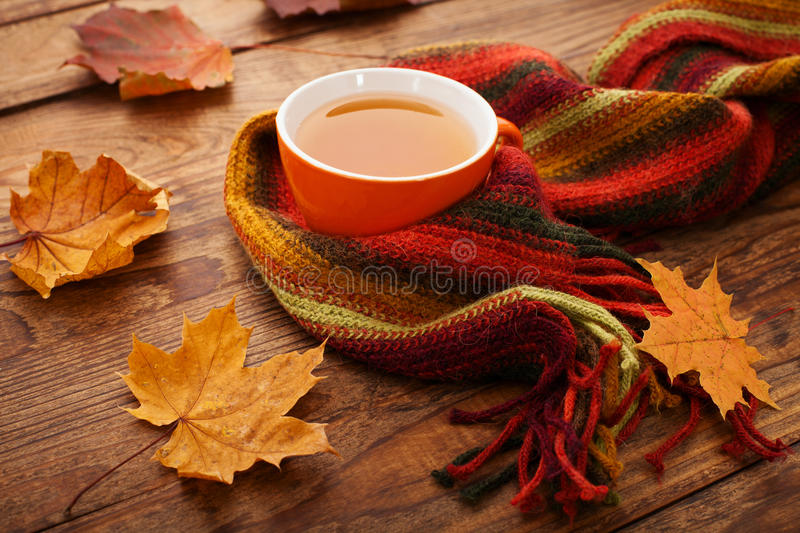 Autumn leaves, book and cup of tea on wooden table royalty free stock photos