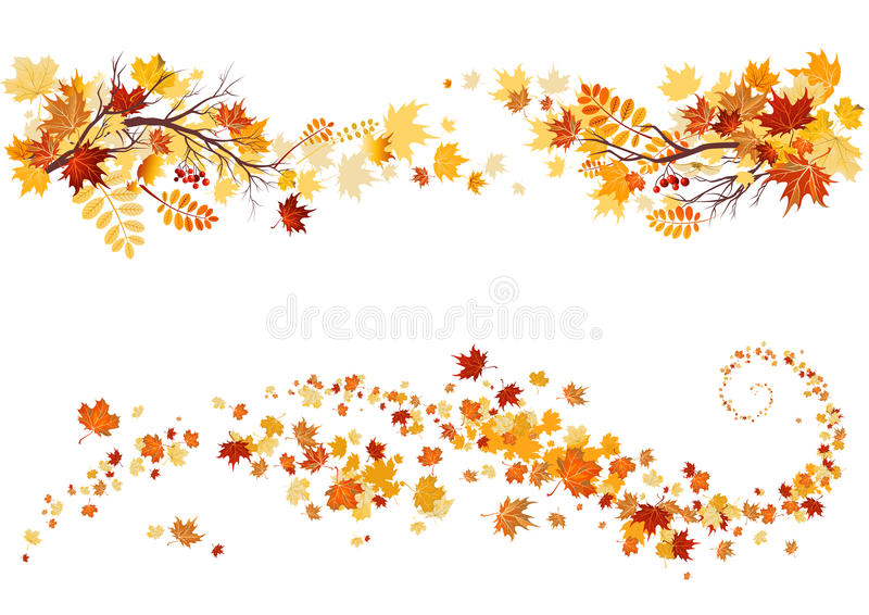 Autumn leaves border royalty free illustration
