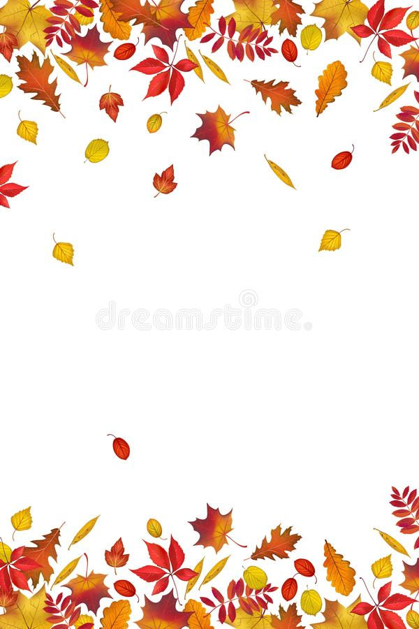 Autumn leaves border isolated on white background stock illustration