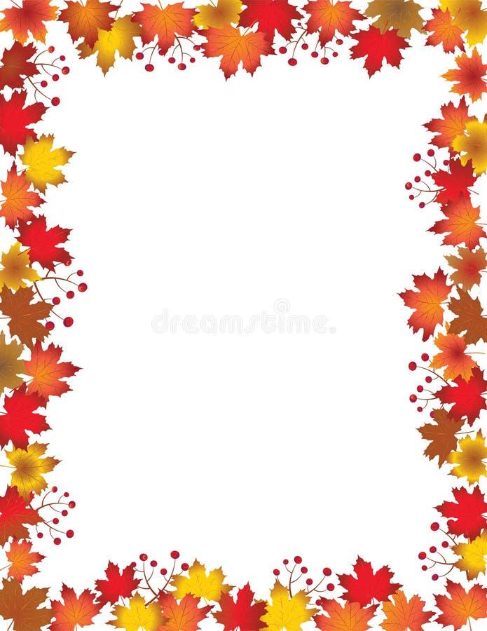 Autumn leaves border isolated on white background. vector illustration