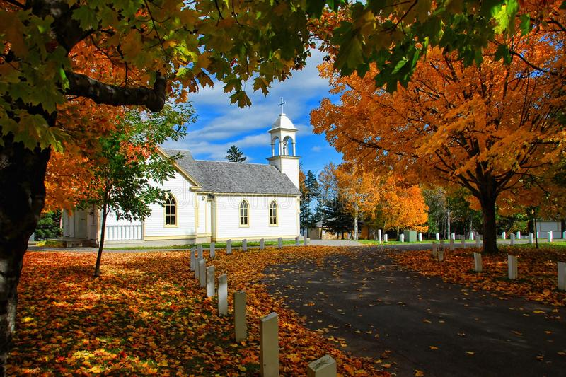 Autumn, Leaves, Church royalty free stock photography