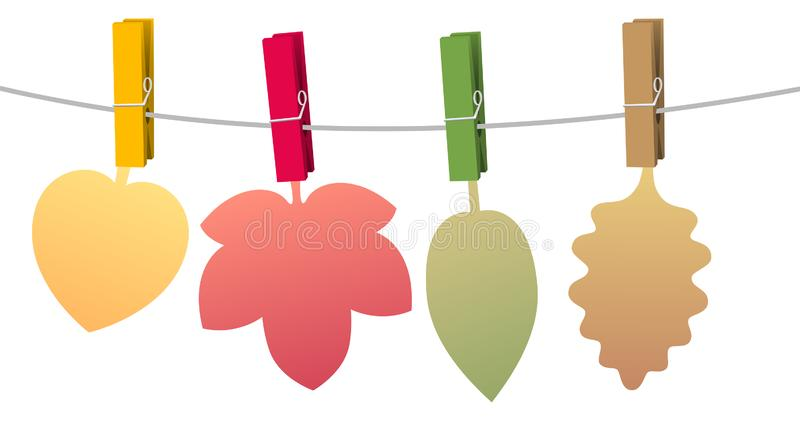 Autumn Leaves Clothes Pins Colored stock illustration