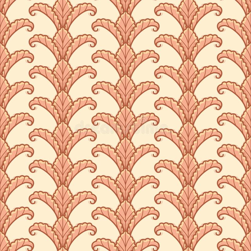 Autumn Leaves Column Vector Repeat Pattern. Fall leaf column seamless vector pattern. Autumn greenery illustration background stock illustration