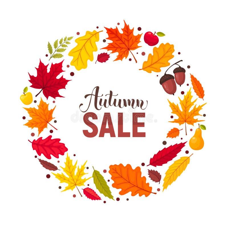 Autumn leaves composition stock illustration