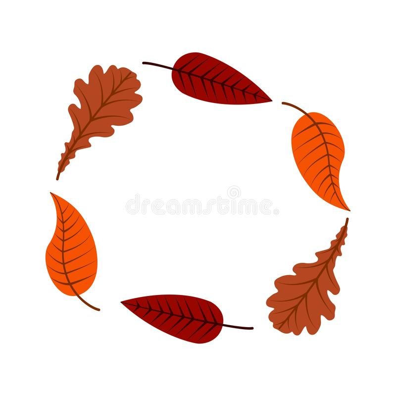 Autumn leaves of different trees in the form of a circle colorful illustration royalty free illustration