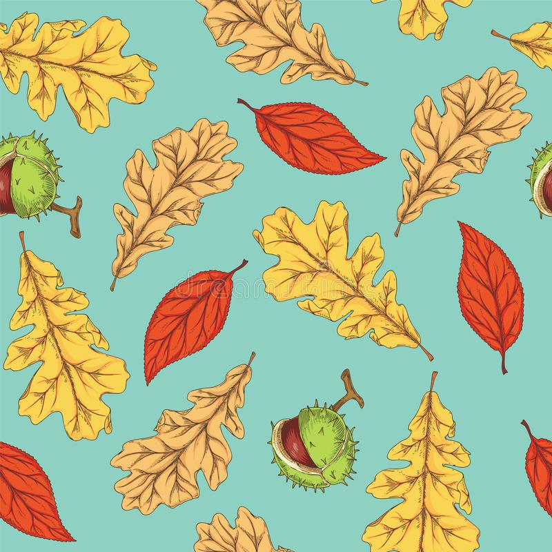 Autumn Leaves e castagna d'India royalty illustrazione gratis