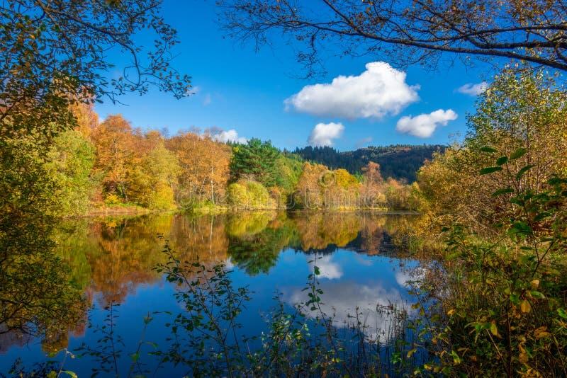 Autumn Leaves en Blauwe die Hemel in Water dichtbij Aberfoyle binnen wordt weerspiegeld royalty-vrije stock fotografie