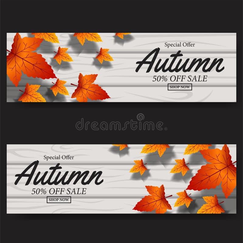 Autumn Leaves Fall bandera de la plantilla de la venta de la tarjeta Ilustración del vector flotador de las hojas de arce en la m libre illustration