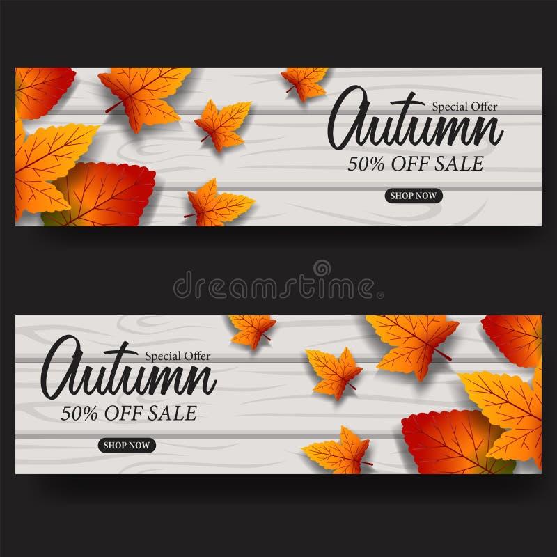 Autumn Leaves Fall bandera de la plantilla de la venta de la tarjeta Ilustración del vector flotador de las hojas en la madera stock de ilustración