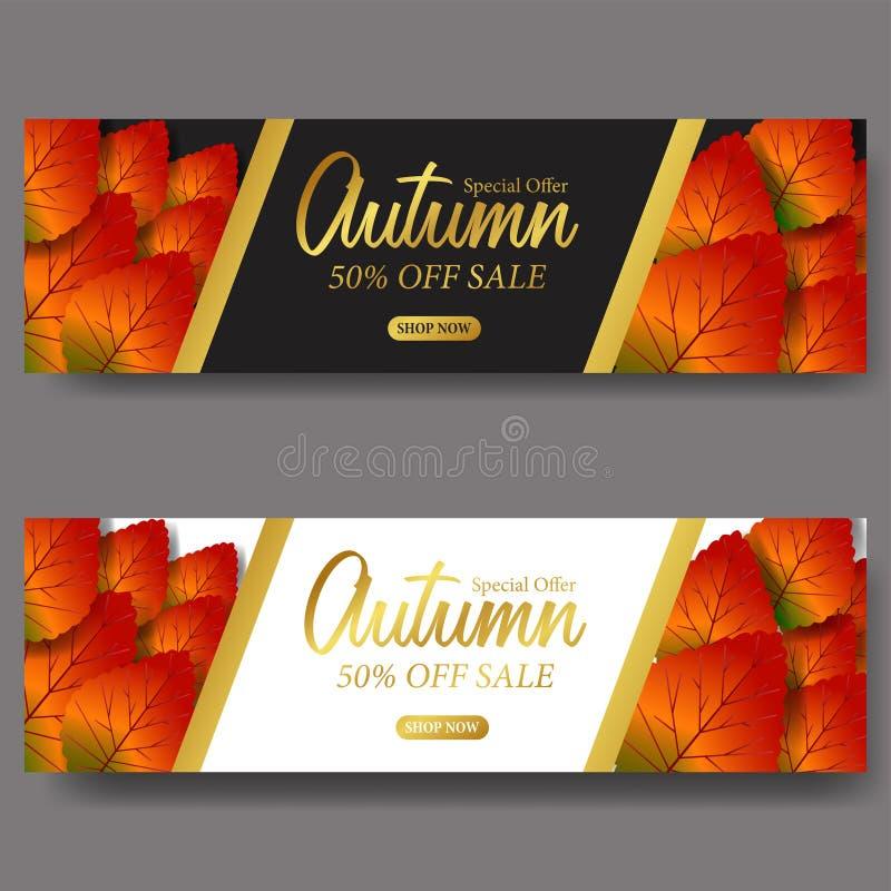 Autumn Leaves Fall bandera de la plantilla de la venta de la tarjeta Ilustración del vector texto de oro con el fondo blanco y ne stock de ilustración