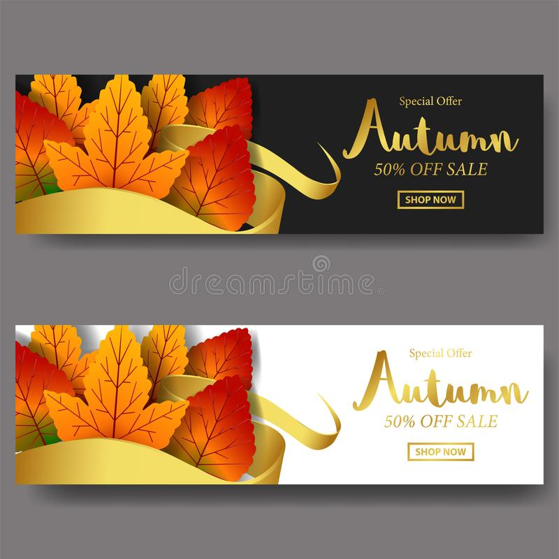 Autumn leaves fall. card sale template banner. vector illustration. golden text with white and black background with golden ribbon. Autumn leaves fall. card sale royalty free illustration
