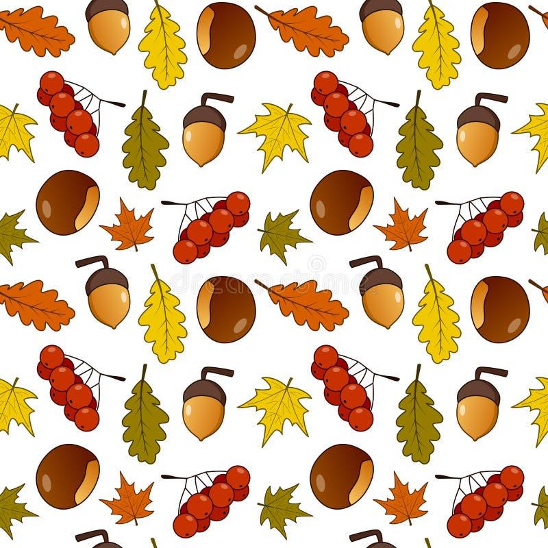 Autumn Leaves Fall Fruits Seamless modell royaltyfri illustrationer