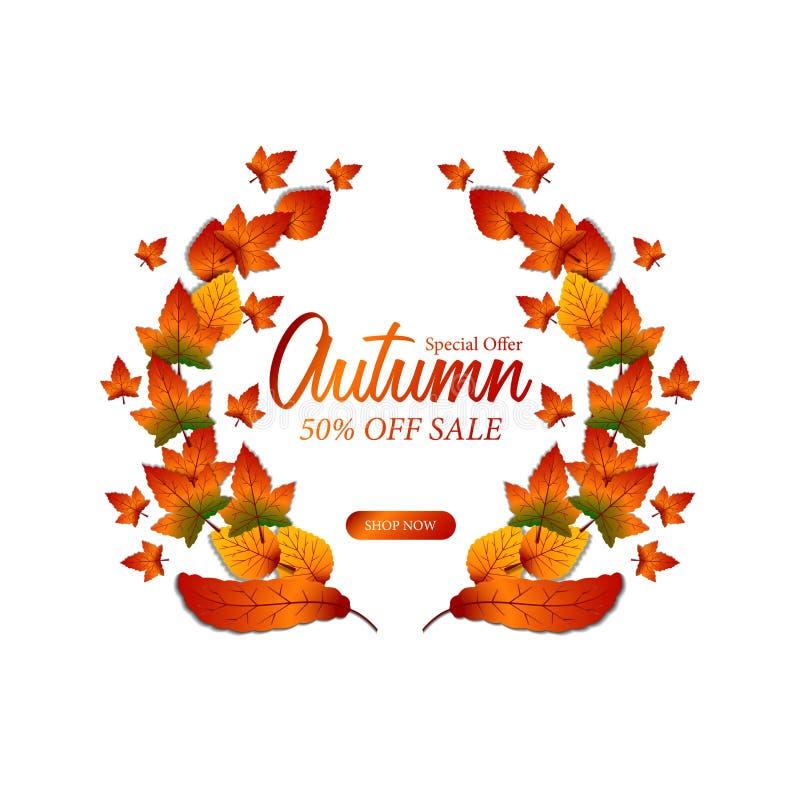 Autumn Leaves Fall Guirnalda del laurel plantilla de la oferta de la venta Ilustración ilustración del vector
