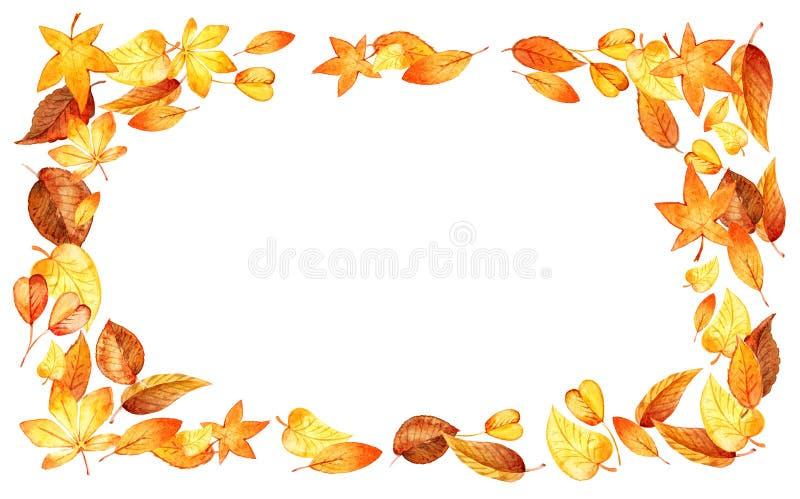 Autumn Leaves Fall horisontalram Isolerad bladgräns för vattenfärg illustration Mall för DIY-projekt som gifta sig vektor illustrationer