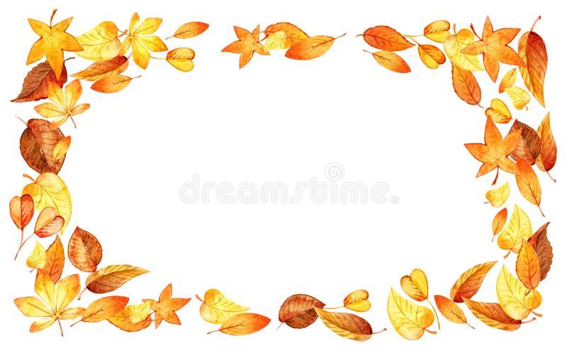 Autumn Leaves Fall horizontal Frame. Watercolor Illustration Isolated Leaf Border. Template for DIY projects, wedding vector illustration