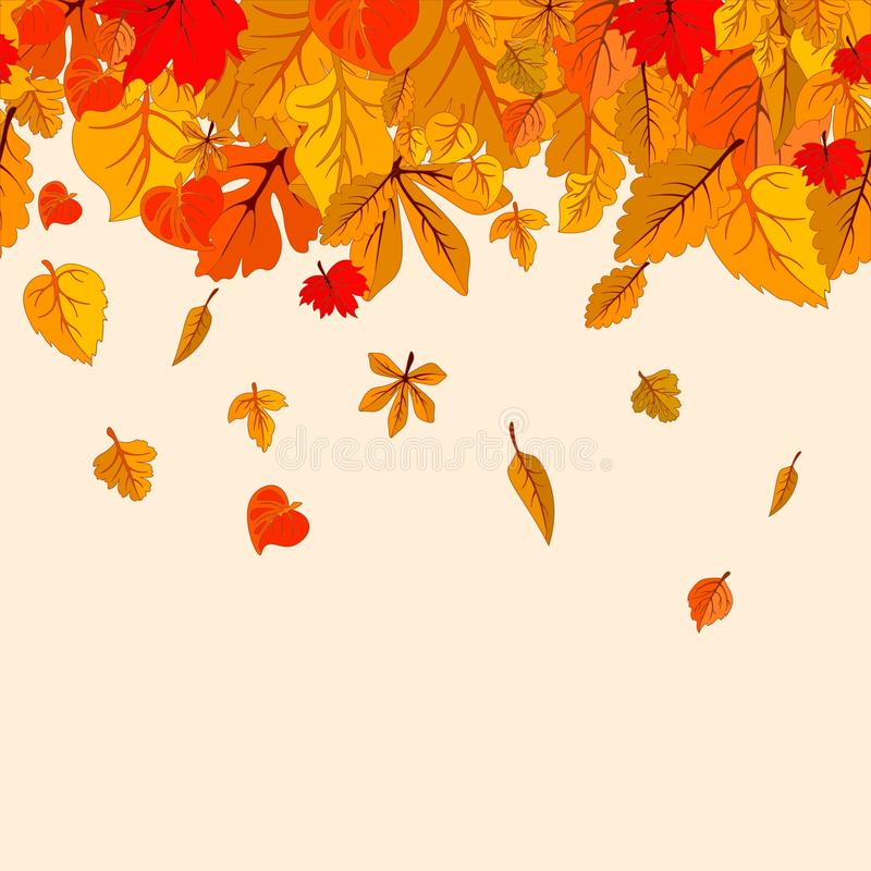 Autumn leaves fall isolated background. Golden autumn poster template. Vector illustration eps10. Autumn leaves fall isolated background. Golden autumn poster royalty free illustration
