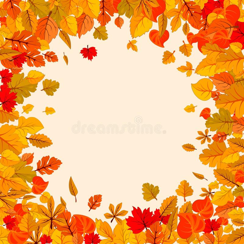 Autumn leaves fall isolated background. Golden autumn poster template. Vector illustration. Autumn leaves fall isolated background. Golden autumn round poster stock illustration