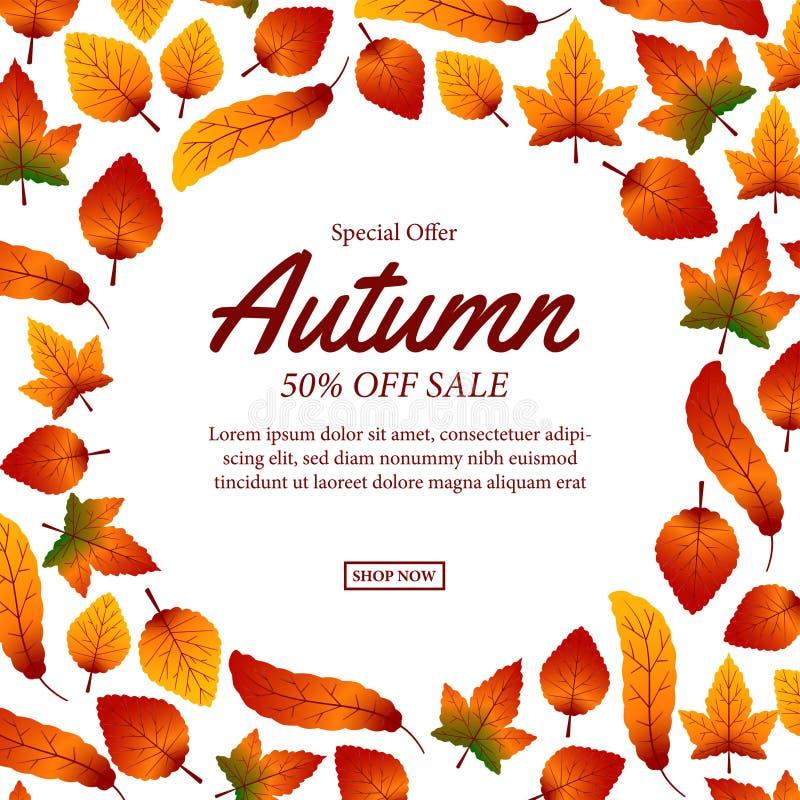 Autumn Leaves Fall plantilla de la oferta de la venta plantilla del descuento del cartel Ilustración stock de ilustración