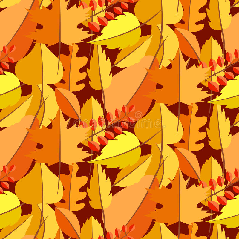 Autumn leaves fall seamless vector pattern. stock illustration