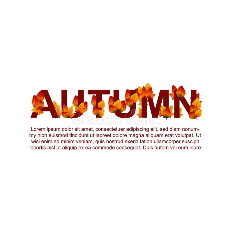 Autumn Leaves Fall tipografia decorativa Ilustração ilustração stock