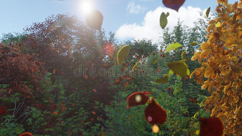 Autumn leaves fall from trees in autumn Park. Autumn colorful Park on a Sunny day. 3D Rendering stock illustration