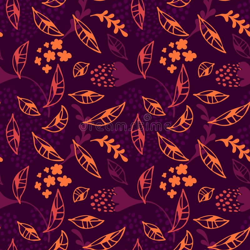 Trendy modern vector Abstract Autumn leaves fall floral seamless pattern. stock illustration