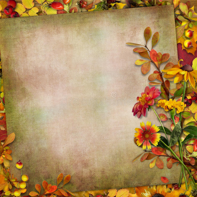 Stock Photo Autumn Leaves Flowers Berries Vintage Background Bouquet I...