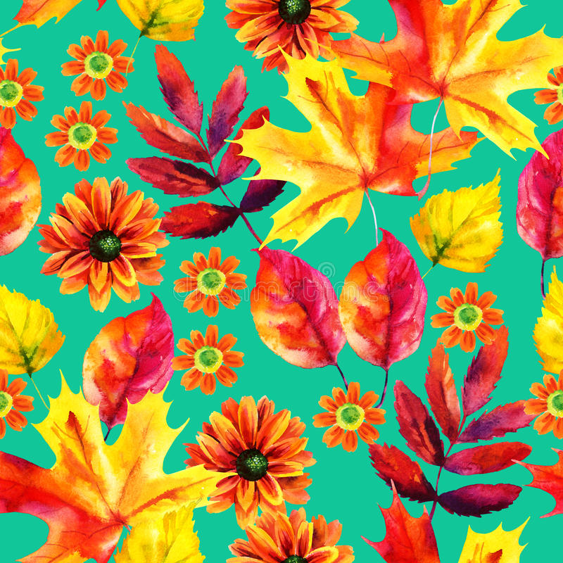 Autumn leaves and flowers watercolor seamless pattern stock illustration