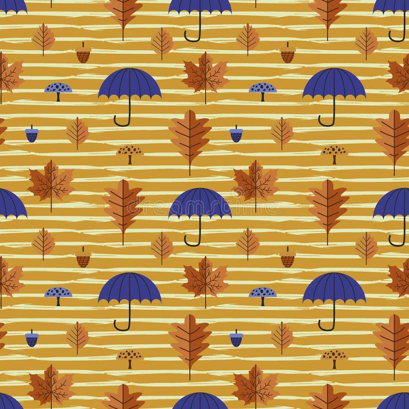 Autumn leaves and foliage seamless pattern with umbrella and multicolor maple and oak hand drawn vector illustration. stock illustration