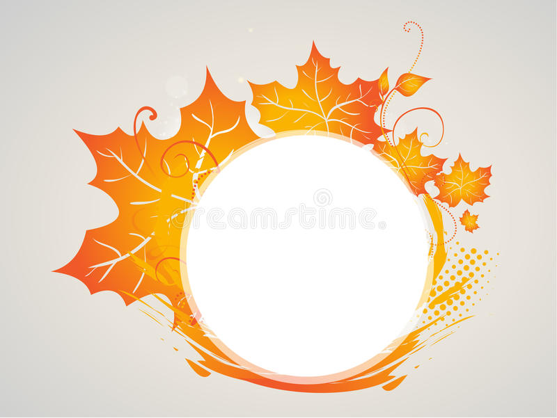 Autumn leaves frame. Arrangement of autumn leaves in red and gold as a frame or background stock illustration