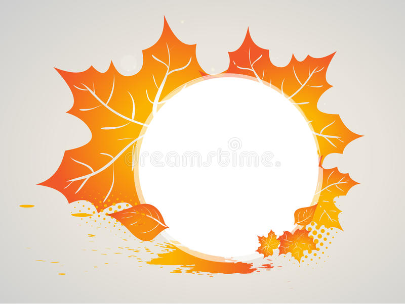 Autumn leaves frame. Autumn leaves in red and gold as a frame or background stock illustration