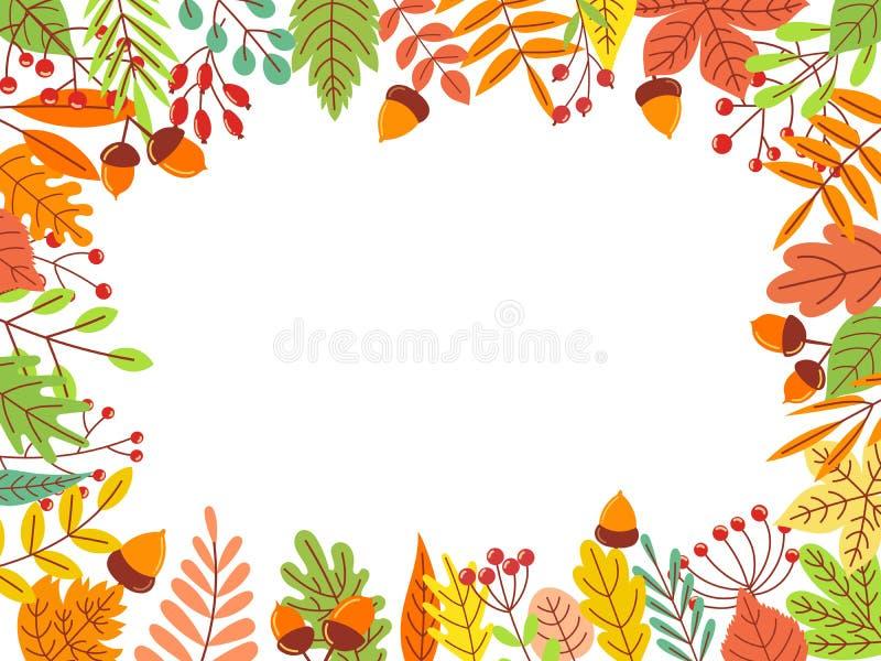 Autumn Leaves Frame La feuille jaune tombée, le feuillage de septembre et le jardin automnal part de l'illustration de vecteur de illustration de vecteur