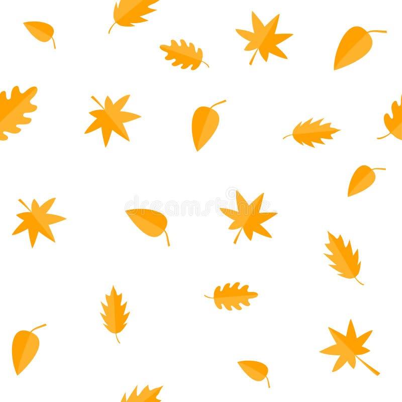 Autumn Leaves Geeloranje bladreeks Eik, esdoorn, berk, lijsterbes Naadloos Patroon Verpakkend document, textielmalplaatje witte b royalty-vrije illustratie