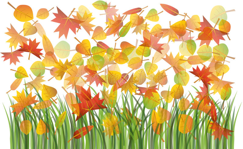 Autumn leaves on the grass. Colorful autumn leaves on the green grass illustration royalty free illustration