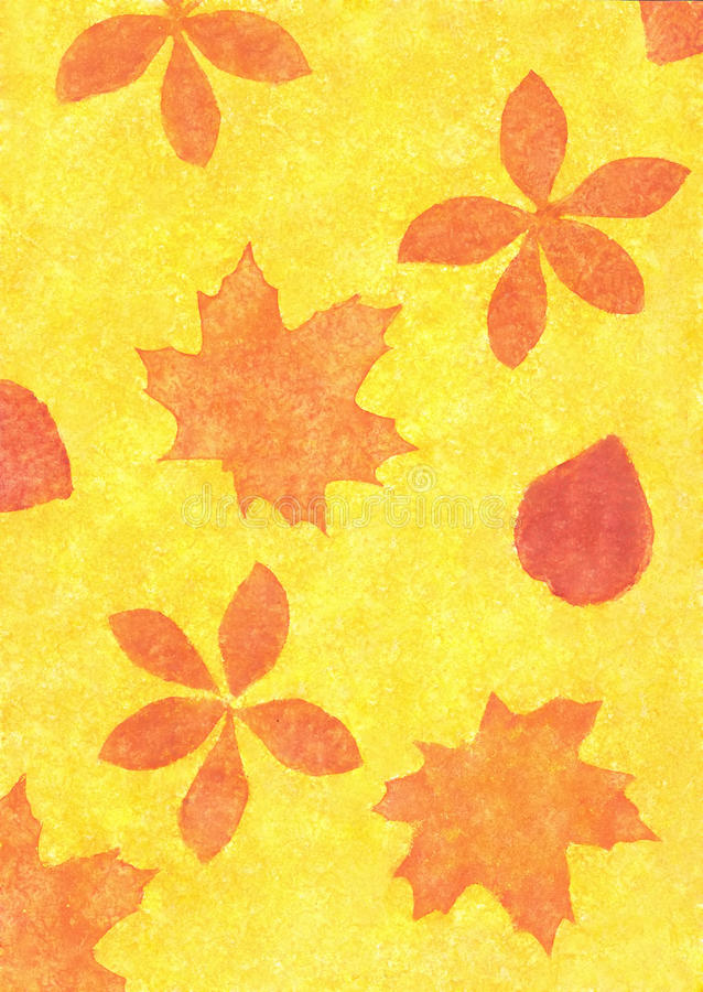 Autumn leaves in a grunge style stock illustration