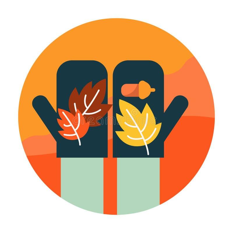 Autumn leaves on hand. stock illustration
