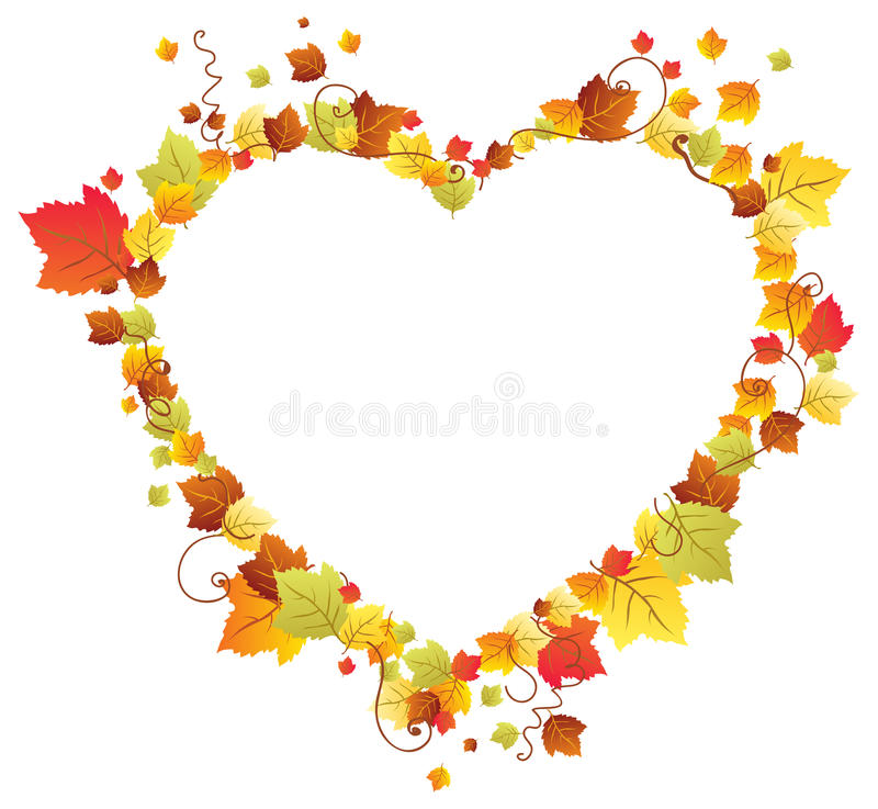 Download Autumn Leaves In The Heart Frame Stock Vector - Image: 26948430