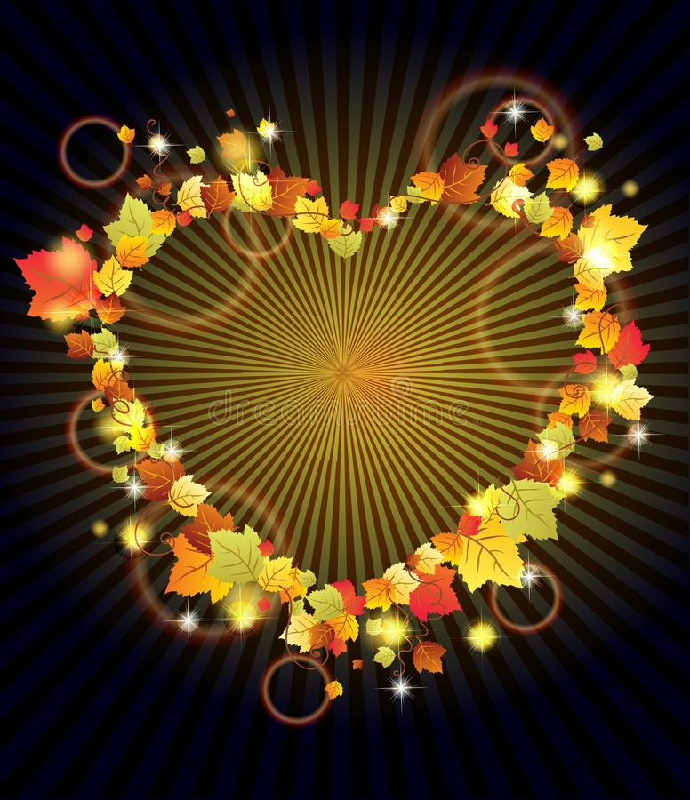Download Autumn Leaves In The Heart Frame Over Dark Stock Vector - Image: 26965115