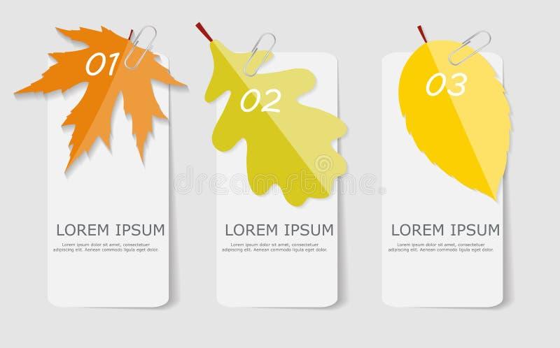 Autumn Leaves Infographic Templates para o negócio ilustração stock