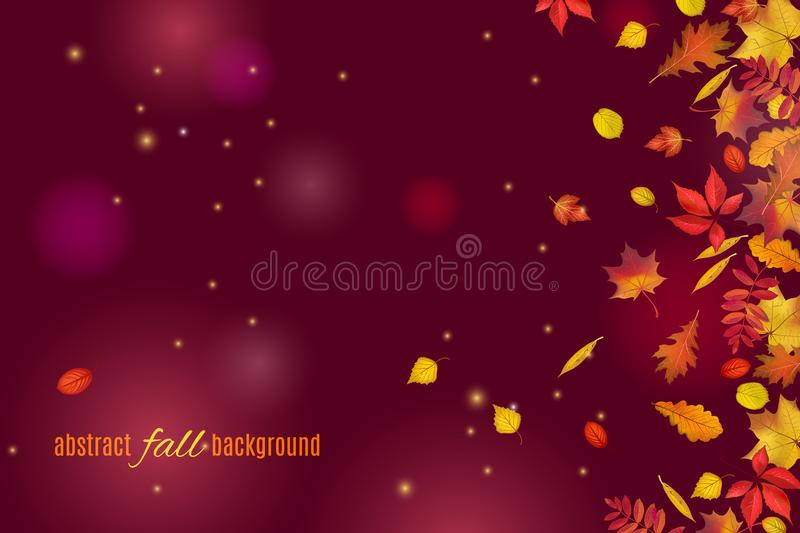 Autumn leaves isolated on beautiful dark brown background with lights and sparkles royalty free illustration