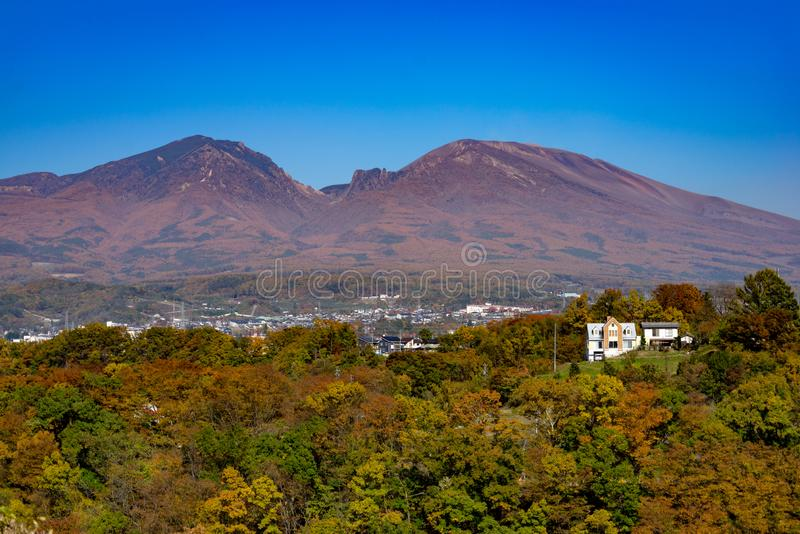 Autumn Leaves and Mt Asama. In Komoro city stock photography