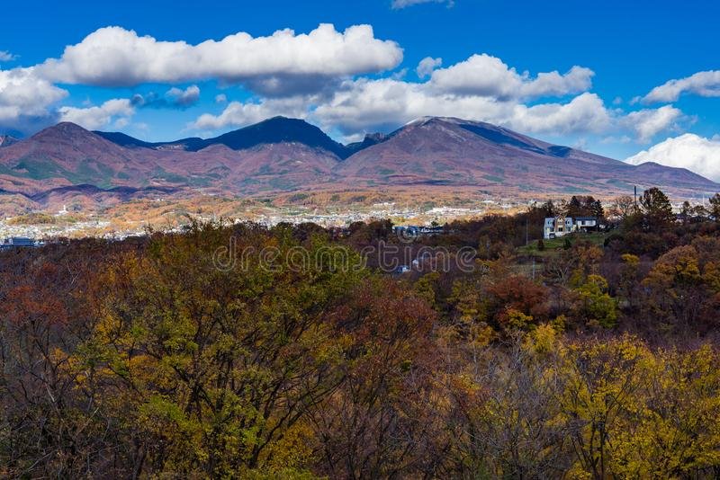 Autumn Leaves and Mt Asama. In Komoro city royalty free stock photography
