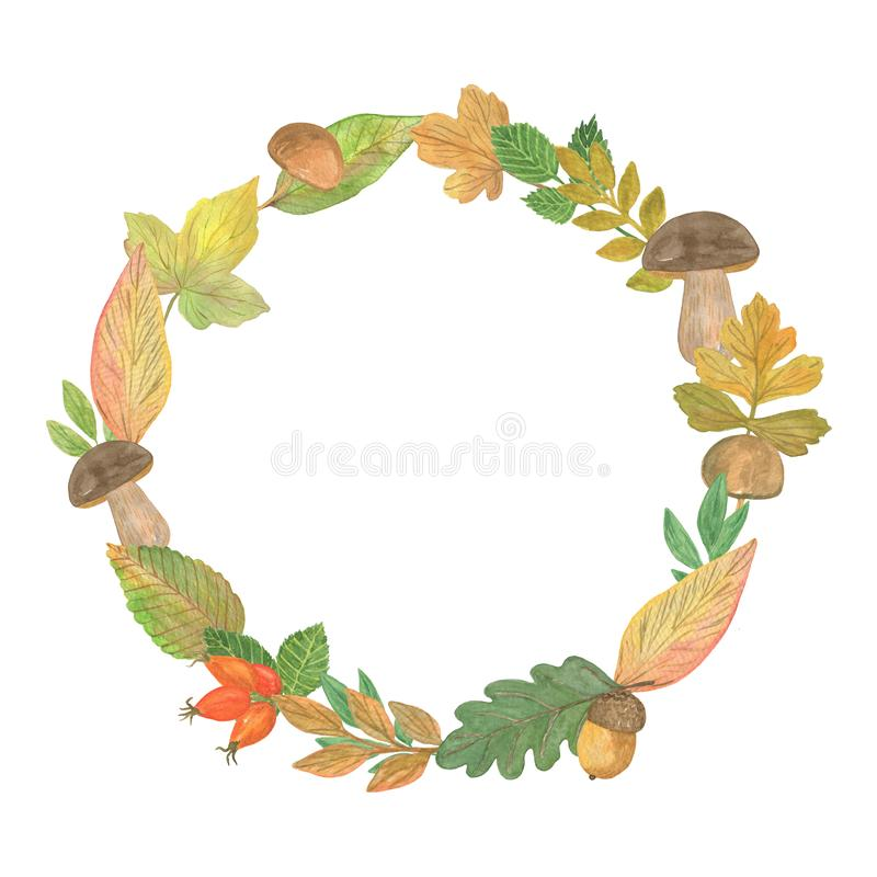 Autumn leaves and mushrooms wreath, pattern for seasonal holiday decorations. Simple floral ornament arrangement, seasonal pattern on the white background royalty free stock photo