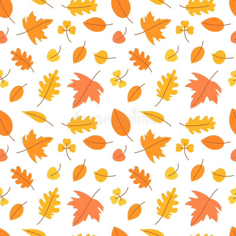 Autumn Leaves Naadloos patroon Vector geel en oranje blad Plakboek, gift verpakkend document, textiel Hello, Oktober kleur vector illustratie