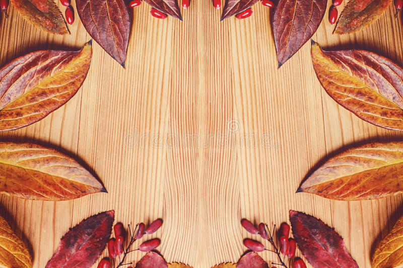 Autumn leaves over wooden background. With free space stock photos