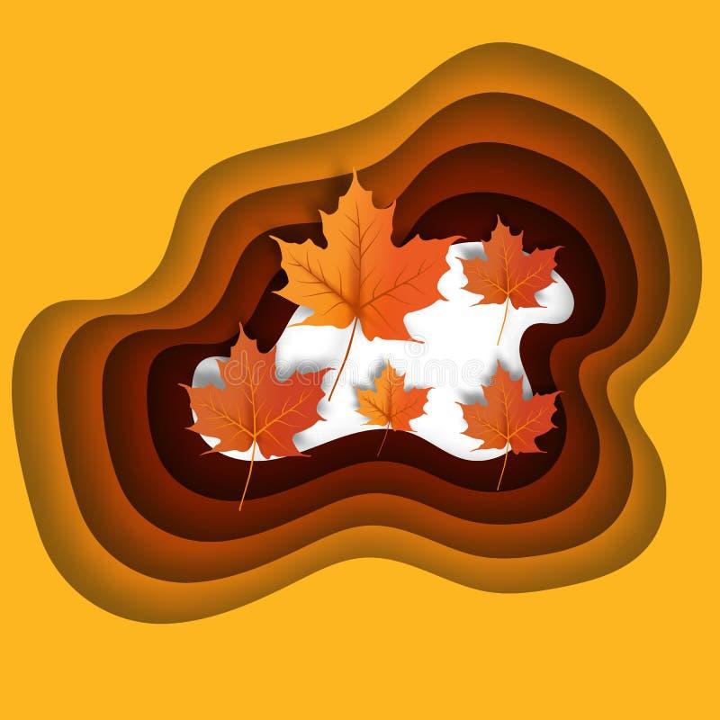 Autumn leaves paper cut style background illustration. stock illustration