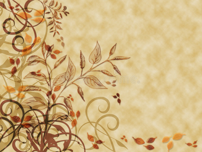 Autumn Leaves Parchment. Autumn colored leaves and flourishes on parchment textured background royalty free illustration